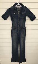 Vintage Women's Guess Jumpsuit Size XS Stretch Denim Full Body Jeans Front Zip