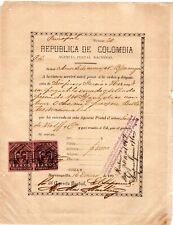COLOMBIA - POSTAL MONEY ORDER W/ REVENUE STAMPS - B/QUILLA to B/MANGA - 1897