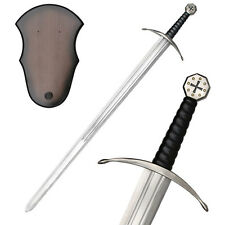 "NEW 40"" Christian Crusader Knight's Templar Medieval Long Sword w/ Wooden Plaque"