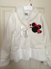 Minnie Mouse 4T Girl White Coat Jacket Faux Fur
