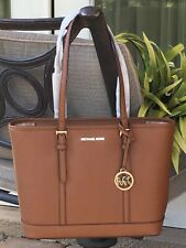 MICHAEL KORS JET SET TRAVEL SMALL ZIP SHOULDER TOTE BAG LUGGAGE BROWN LEATHER