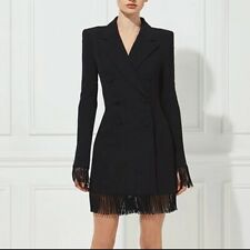 New Black Blazer Trench Coat Dress With Detailed Tassels Long Sleeves