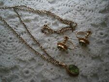 Beautiful Vintage Ornate 9ct Gold Peridot Jem Earrings and Pendant set :) MINT!
