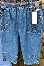LADIES WOMENS 3/4 ELASTICATED SHORTS DENIM STRETCHY CROPPED CAPRI TROUSER PANTS