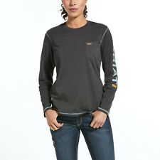 Ariat® Ladies Rebar™ Work Woman Logo Grey Long-Sleeve T-Shirt 10032907