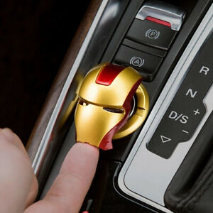 Iron Man Car Interior Engine Ignition Start Stop Button Protective Cover Sticker