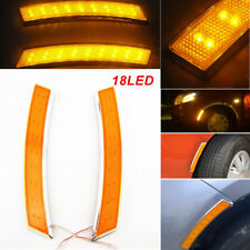 2X Auto Car Wheel Eyebrow Side Marker Turn Signal Indicator Yellow LED Light 12V
