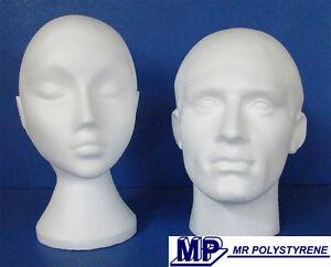 1 PAIR POLYSTYRENE HEADS MALE + UNISEX MANNEQUIN DISPLAY HEAD