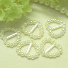 50 Pearl Ribbon Buckles/Sliders Heart Shaped - Ivory/Wedding/Cardmaking