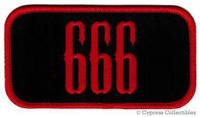 666 - BIKER PATCH iron-on emblem EMBROIDERED EVIL SATAN DEVIL NUMBER motorcycle