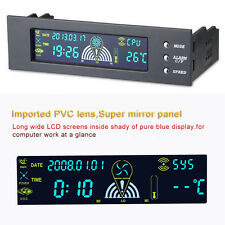 "5.25"" 3 Fan Speed Controller Computer CPU Temperature Sensor Bay Front LCD Panel"