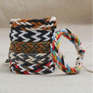 Handmade Multicolor String Woven Wax Rope Braided Women Men Bohemian Bracelets