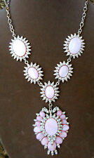 PINK SHELL & Clear Crystal Glamorous Pendant Necklace.