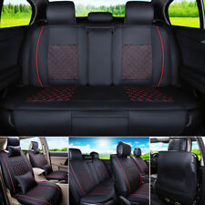 US PU leather 5 Seats Car Seat Cover Black W/ Red  Front + Rear Set  Size M