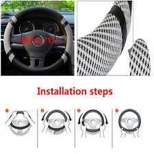 Grey 15'' Microfiber Leather Ice Silk Car Steering Wheel Cover Cooling Universal