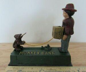JUMPING MONKEY CAST IRON MECHANICAL BANK