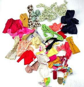 Large lot of vintage homemade Barbie clothes