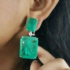Green Emerald Cut Earrings for Women Large 925 Sterling Silver Jewelry Omega CZ