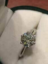 Engagement Ring 14K White Zyj Certified 1.80ct Round White Moissanite Solitaire