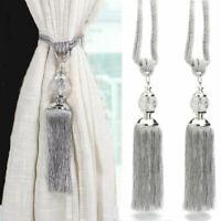 2PCS Curtain Tie Backs Hold Backs Rope Tassel Tiebacks Crystal Ball Decor UK