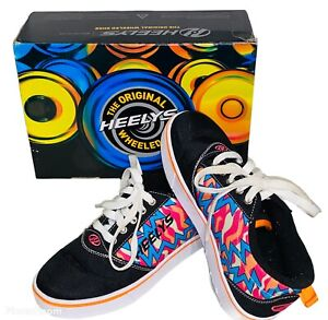 Heeleys Wheeled Shoes Girls SZ Youth 4 Multi Color Box, Plugs & Wheels Included