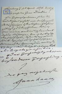 Lieutenant General Ernst Heinrich Dannhauer (1800-1884): Pers. Letter Naumburg