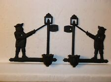 "VINTAGE CAST IRON ""POST ROAD"" WALL CANDLE SCONCE"
