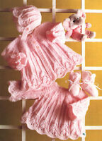 Knitting Pattern ~ Scalloped Swing Baby Matinee Coat Dress Bonnet & Socks DK