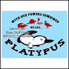 "Fridge Fun Refrigerator Magnet ""WITH OUR POWERS COMBINED WE ARE PLATYPUS"" funny"
