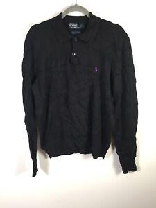 Ralph Lauren mens black lambswool knit polo jumper size L long sleeve good condt