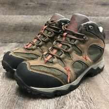 Clorts Mens Hiking Shoes Brown Green Lace Up High Top Leather Mesh Lined Sz 9