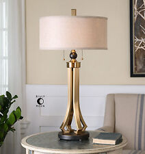 "RICH 33"" BRUSHED BRASS PLATE METAL TABLE LAMP LINEN SHADE RUBBED BASE DESK LIGHT"