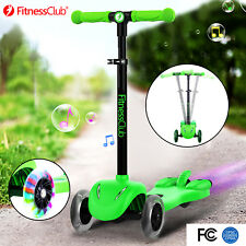 Adjustable 3 Wheel Kick Scooter Led Light Atomizer Music Kid Sport Outdoor Green