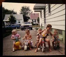 Children Bikes Toddlers 1970s? Car Driveway Found Old Vintage Photo Snapshot
