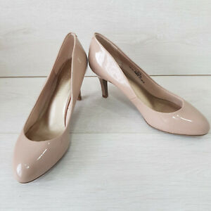 M&S Court Shoes Heels Size UK 4.5 Wide Fit Nude Beige Leather Occasions Workwear
