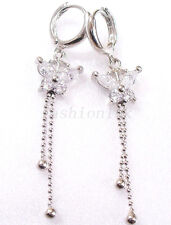Girl CZ Cubic Crystal White Gold Plated 5cm Long Butterfly Clear Hoop Earrings