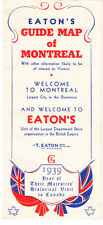 EATON'S GUIDE MAP OF MONTREAL  1939. FOLD-OUT PROMO AND MAP OF MONTREAL. RARE