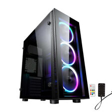 PC COMPUTER CASE ATX M/ATX TEMPERED GLASS + 3 RGB LED FAN -  iONZ KZ02 MID TOWER