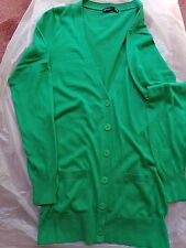 LADIES GREEN LONG COTTON CARDIGAN SIZE 12 POCKETS 6 BUTTON FRONT LONG SLEEVES