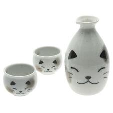 1x Japanese 1:2 White Calico Cat Sake Set #120-566