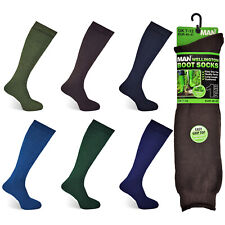 MENS WELLINGTON BOOT SOCKS LONG LENGTH CUSHIONED CAMPING GARDENING SIZE UK 7-12