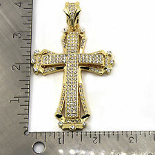 4bb4734a320 Mens 14k Gold Plated Hollow Cross Iced Out Hip Hop Pendant