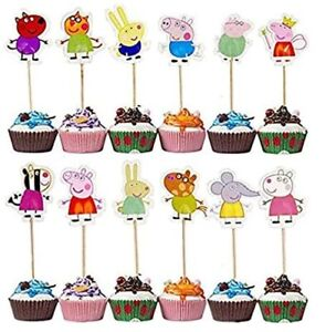 24 Pcs Peppa Pig Cake Topper Theme Party Decorative Cupcake Topper for Birthday