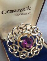 Vintage Carrick Scottish Celtic Brooch Gold Tone Amethyst Glass & Original Box