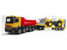Bruder 03623 MB Arocs Kipper + Radlader 02430 + Tieflader Bworld Baustelle