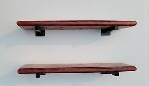 2 Epoxy Wood Deep Cherry Metallic River Floating Shelf Shelves