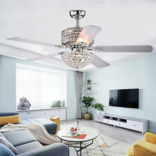 Modern 52'' Crystal Ceiling Fan Light LED Chandelier Retractable 5 Blade +Remote