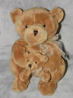 TESCO BROWN BEAR SOFT TOY MOTHER AND BABY TEDDY COMFORTER DOUDOU