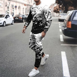Mens Outfit 2-Piece Set Long Sleeve T Shirts and Pants Sweatsuit Thin Set