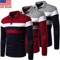 Men's Casual Shirt Golf Sports Cotton Striped T Shirt Jersey Casual Long Sleeve